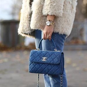 CHANEL 17A Denim Trendy CC Top Handle Flap bag Medium quilted crossbody tote GHW